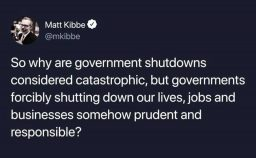 Why is Government Shutdown Unacceptable, but a Free Market Shutdown Prudent?